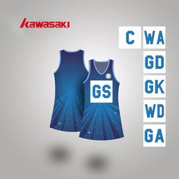 Wholesale Kawasaki Navy blue Women Netball A line Dress Custom Fit Size Full Sublimation Girls Lycra Soft Tennis Dresses For Female