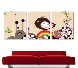 $enCountryForm.capitalKeyWord Canada - unframed art picture Free shipping 3 Pieces Home decoration Canvas Prints tree house Cartoon leaves Lotus moon Abstract plum blossom bird