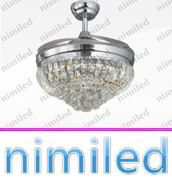"""Discount retractable remote control - nimi903 42"""" Invisible Retractable Star Crystal Lamp Living Room Restaurant Ceiling Fan Light Chandelier Pendant Lig"""