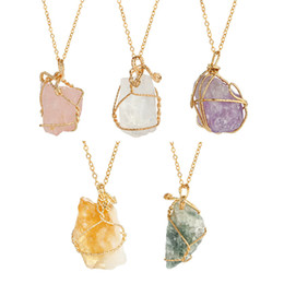 Charms Wire Wrapping Australia - Fashion Handmade Irregular Natural Stone Pendant Necklaces Gold Color Crystal Quartz Wire Wrapped Necklace For Women
