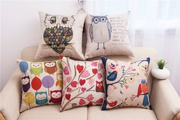 cute animal pillowcase Canada - Cartoon Owl Style Pillow Case Colorful Birds Leaf Pillow Cover 45X45CM Square Pillowcases Cute Animal Printing Cushion Cover Kids Gift