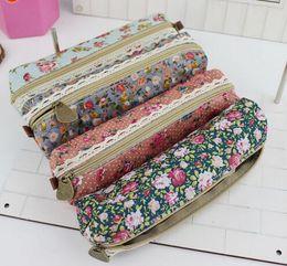 $enCountryForm.capitalKeyWord Canada - High Quality Mini Retro Flower Floral Lace Pen Bag Pencil Bag School Supplies Makeup Bag Zipper Pouch Purse 10 PCS