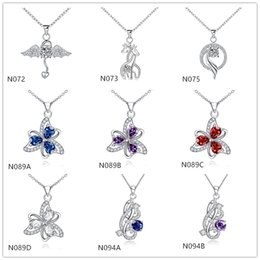 $enCountryForm.capitalKeyWord UK - Best gift fashion women's gemstone 925 silver necklaces pendant 10 pieces mixed style,cheap sterling silver pendant necklaces GTN8