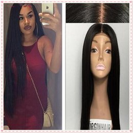 $enCountryForm.capitalKeyWord NZ - Hot Malaysian Silky Straight Silk Base Full Lace Wig Middle Part Human Hair Wigs Glueless Silk Top Wigs Bleached Knots 130% Density