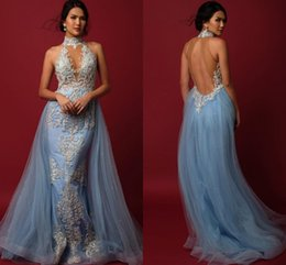 Barato Vestidos Azul Claro Sem Costas-Light Sky Blue Mermaid Evening Dresses High Neck Beading Appliques Tulle Sobre a saia Vestidos de noite Backless Vestidos formais