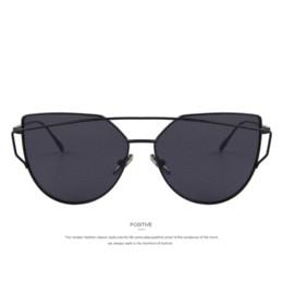 MERRYSTORE Moda Mujeres Gafas de sol con ojo de gato Diseñador de la marca  clásica Gafas de sol de doble haz Recubrimiento Espejo Lente de panel plano  UV400 1e30c511e859
