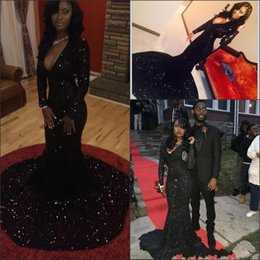 sparkly dresses 2019 - Arabic 2017 Sparkly Black Mermaid Evening Dresses Long Sleeves Sexy Deep V-neck Prom Dresses with Court Train Custom Mad