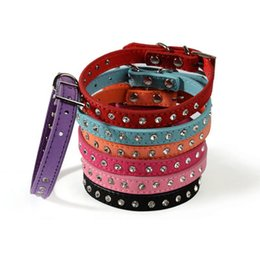 $enCountryForm.capitalKeyWord UK - 7 Colors Leather Dog Collar Retractable Crystal Diamond Collars for Small Medium Pet Dogs Rhinestone Collar