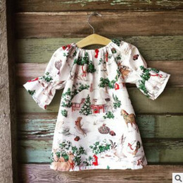 Wholesale Model Boats Canada - INS explosion models new girls Christmas skirt house printing children baby baby 7 points sleeve A word skirt