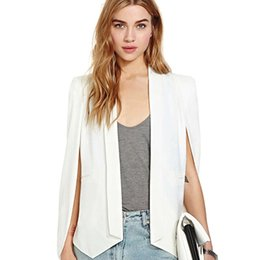 Long Cardigan Blazer Pas Cher-Vêtements de base 2017 Spring Women Vestes OL Cardigan Unique Sleeve Design Slim Fit Costumes de bureau White Cape Blazer Femme