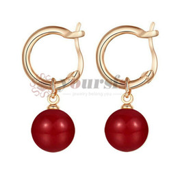 91828a26dd6c Yoursfs Fashion 18 K Rose Gold Plated Bead Drop Dangle Earrings Red  Imitation Pearl Earrings for Women Summer dress Exquiste Vogue Jewelry