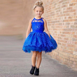 Royal Balls Canada - Hot Sale Royal Blue Short Flower Girl Dresses Organza Crystal Sequins Ball Gowns Girls Pageant Gowns Kids Princess Girls Dress Tutu