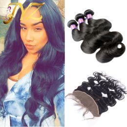 Опт Малайзийские бразильские девственные волосы 13x4 полный фронтальный кружева закрытия и волосы перуанский кружева фронтальная отбеленные узлы объемная волна с 3 пучки волос