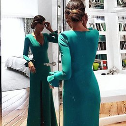 Barato Vestidos De Noiva Simples E Sexy-Emerald Green Long Sleeves Vestidos de noite com Split Side 2018 Sexy V Neck Mermaid Evening Gowns simples africanos Prom Dresses