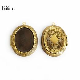 Blank Necklace Base UK - BoYuTe 5 Pcs Vintage Bronze 39*47*10MM Pendant 28*47MM Cabochon Base Blank Diy Jewelry Acceosrries Memory Locket