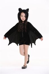 new batman suit 2019 - New family suit Animal Cosplay Cute Bat Costume Kids Halloween Costumes For Girls Black Zipper Jumpsuit Connect Wings Ba