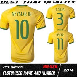 t top thailand quality 2014 brazil world cup brazil home yellow fan jerseys plus size form xxl