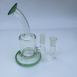 low priced water pipes NZ - Green And Transparent Thick Small Glass Bongs Pocket Glass Water Pipes Recycler Oil Rigs Bong Smoking Pipe Hookahs Low Price