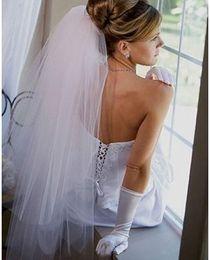 Nuevo 2T blanco / marfil Longitud del codo Longitud del borde del corte Velo de novia con peine Velos de novia de tul