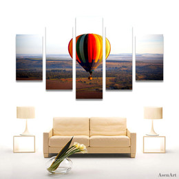 hot air balloon wall UK - 5 Panel Canvas Art Hot Air Balloon Painting Canvas Prints Wall Paintings Modern Home Wall Decor Living Room Unframed