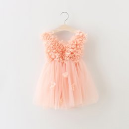 Vestidos De Verano Florales Al Por Mayor Baratos-Nuevo 2016 Baby Girls Tulle Lace Party Dresses Kids Girl 3D Flower con cuello en v vestido de niña princesa tutu Dress Babies Summer Wholesale Clothing