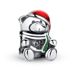Enamel Bear Charms Canada - 925 Sterling Silver Christmas Teddy Bear Charms with Red & Green Enamel for DIY Beaded Charm Bracelets & Necklaces Christmas Gift S380