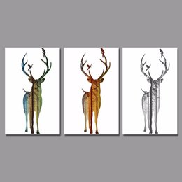 painted christmas canvas UK - Big Size Landscape Deer Christmas Decoration Wall Art Picture Xmas Reindeer Canvas Painting For Living Room Home Decor Unframed