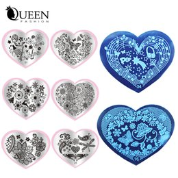 Modèle En Acier Inoxydable À Ongles Pas Cher-Vente en gros - 2016 Nouveau 6pcs Love Heart Shape Nail Art estampage Plaques en acier inoxydable DIY Flower Christmas Nail Stamp Template