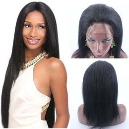 Straight half wig priceS online shopping - Half price hot selling jet black yaki straight wig peruvian hair yaki full lace wig glueless lace front wigs for black women