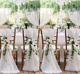 Wedding chairs online shopping - 2016 New Designer Chair Sashes Wedding Accessory Cheap Wedding Supplies Wedding Decoration Ruffles Chiffon Chair Covers
