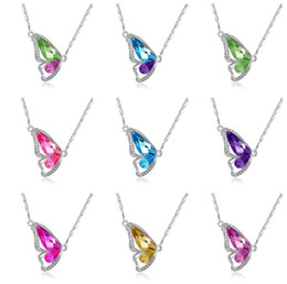 Marque nouvelle bijoux nouvelle mode plein diamant cristal ailes de papillon collier chaîne YP075 Arts et Artisanat pendentif avec chaîne