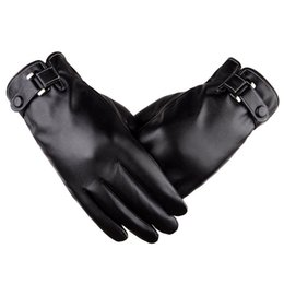 China Mens Winter Driving PU Leather Touchscreen Gloves Warm Soft Thick Fleece Lining Windproof Water-resistant Biking Outdoor Gloves Black Brown suppliers