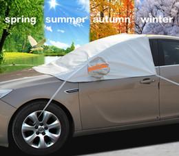 Универсальный автомобиль половина крышки солнцезащитный козырек стайлинга фольги водонепроницаемый сгущаться автомобилей снег щит анти-УФ снег защитные чехлы для автомобилей