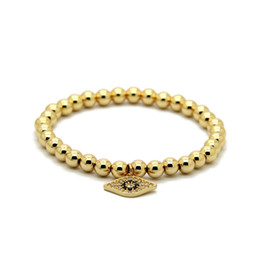 Chinese  Wholesale 10pcs lot High Grade Jewelry 6mm Color Keeping Bronze Beads Micro inlay zircon Eye Cz Beads Charm Bracelets manufacturers
