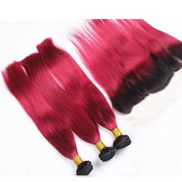 $enCountryForm.capitalKeyWord UK - Dark Roots Red Ombre Straight Hair Bundles With Lace Frontal Closure 2 Tone 1B Red Ombre Malaysian Human Hair Weaves With Lace Frontal