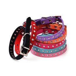 Dog Collar Supplies Wholesaler UK - small medium new suede leather dog collar rhinestone 7 colors 4 sizes pet dog supplies for small medium dogs free shipping