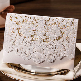 Embossed Flowers Invitation Canada - Classic White Shiny Hollow Embossed Flowers Wedding Invitations Cards, By Wishmade, CW073