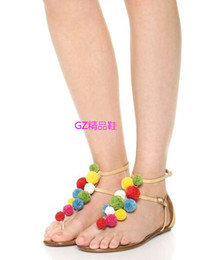 Coloured Flats NZ - Free shipping 2016 Ladies suede leather mid heel sandals colourful ball top beautiful sexy flat heel peep-toe 2 colours size 35-42