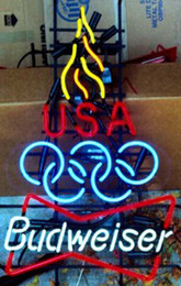 "Hot Bar Australia - Hot Budweiser Olympic Torch Neon Sign Handmade Custom Real Glass Tube Store Beer Bar KTV Club Advertising Display Neon Signs 15""X25"""