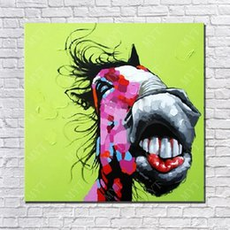 Funny Art Pictures Canada - Animal Oil Painting On Canvas Funny Red Horse Head Wall Pictures Abstract Modern Canvas Wall Art Living Room Decor Picture