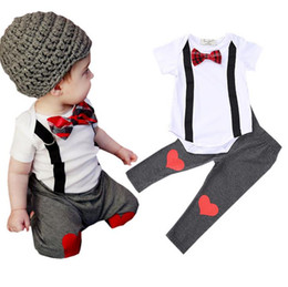 $enCountryForm.capitalKeyWord Canada - Cute Infant Baby Set Kids Bow Tie Short Sleeve Cotton Tops Rompers + Heart Pants Boys 2pcs Clothing Suits Children Outfits