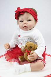 $enCountryForm.capitalKeyWord Canada - Silicone Reborn Baby Dolls 22 Inch Soft Real Lifelike Newborn Princess Girl Babies With Clothes Children Birthday Xmas Gift