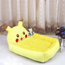 large pet mat Canada - Cute Animal Pikachu Cartoon Large Dog Beds Mats Teddy Pet Dogs Sofa Pet Cat Bed For Dogs Waterproof Blanket Cushion Puppy Supplies S-XL