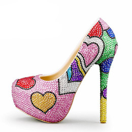 Heart stiletto pumps online shopping - Fashion Handmade Colorful Rhinestone Wedding Shoes Banquet Evening Party Pumps Multicolor Crystal Bridal Shoes Heart Shape