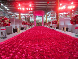 Discount photo booth backdrops - 1.4 m *10m roll Fashion red 3D Rose Petal Carpet Aisle Runner for Wedding Backdrop Centerpieces Favors Carpets Party Dec