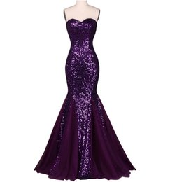 Barato Vestidos De Festa Brilhantes E Brilhantes-Real Sequin Long Evening Dresses 2017 Sparkly Dark Salmon Purple Elegante Vestidos Formais Mermaid Prom Gowns High Quality Women Party Dresses