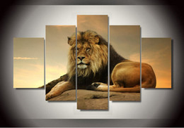 $enCountryForm.capitalKeyWord Canada - 5 Piece Free Shipping Hot Sell Modern Wall Painting lion Home Decoration Flowers Art Picture Paint on Canvas Prints