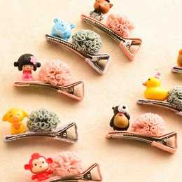 Indian Hair Decorations Canada - New Arrival Sweet Hair Clips For Girls Hair Rubber Bands Floral Flower Animals Decoration Personality Cartoon Hair Ropes
