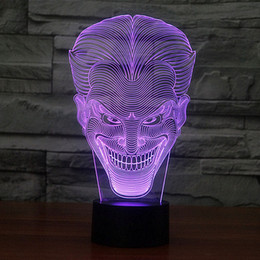 Gadgets For Free NZ - Free Shipping 1 piece Multi Color USB charge Smile Jack Ghost 3D LED light with 3D luminaria night lamp for Hallowmas gadgets