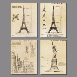 $enCountryForm.capitalKeyWord Canada - 4pcs Retro decoration Paris Eiffel Tower wall art picture Statue of Liberty old poster Canvas Painting living room unframed